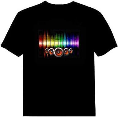 Camiseta LED Flash activado por voz para hombre y mujer Party Rock Disco Night Club: Amazon.es: Iluminación