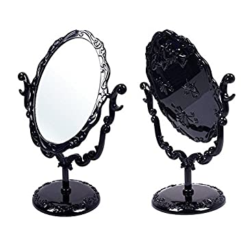 Black Butterfly Desktop Mirror Rotatable Gothic Small Size Rose Makeup Stand by Wenettion
