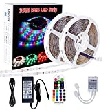 SPARKE LED Light Strip 2 Reels 32.8feet 10meter Non-Waterproof Flexible 600leds 60leds/m Color Changing RGB SMD3528 Light Strip Kit with RF Remote Control and DC24V UL Listed Power Supply