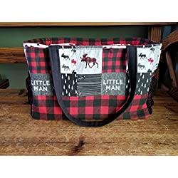 Diaper Bag - Little Man Moose with plaid