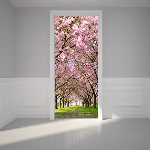 Door Wall Sticker Cherry Blossoms Place - Self Adhesive Peel & Stick Repositionable Fabric Mural 31
