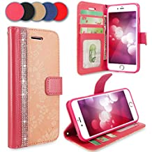 iPhone 7 Plus Case, iPhone 8 Plus Case, Cellularvilla [Diamond] Embossed Flower Pu Leather Wallet [Card Slot] [Stand Feature] Protective Folio Cover For Apple iPhone 7 Plus 2016 / iPhone 8 Plus 2017