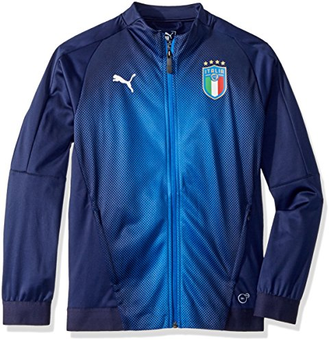 (PUMA Big Boys' FIGC Italia Stadium Jacket Kids, Peacoat Team Power Blue, L)