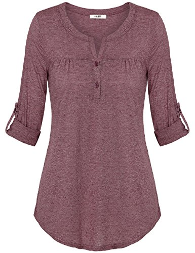 Vivilli Boutique Clothing For Women, Women's Henley V Neck Cuffed Sleeve Slim Fit Blouse Tops For Work Wine Medium
