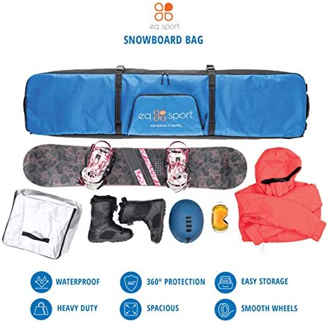 EQ SPORT Padded Snowboard Bag with Wheels for Air Travel, Waterproof Roller Snowboard Bag, Rollup Space Saver, Includes Boot Bag for Men/Women
