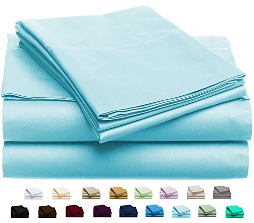 Luxury Home Super-Soft 1600 Series Double-Brushed 6 Pcs Bed Sheets Set (Full, Sky Blue) (1600 Series)
