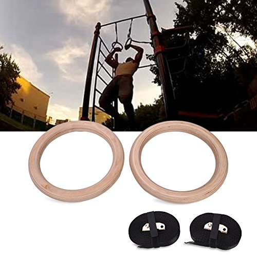 Forfar Wooden Exercise Fitness Gymnastic Rings Adjustable Gym Crossfit Muscle Strength Training Pull Ups Muscle Ups Entertainment by Forfar