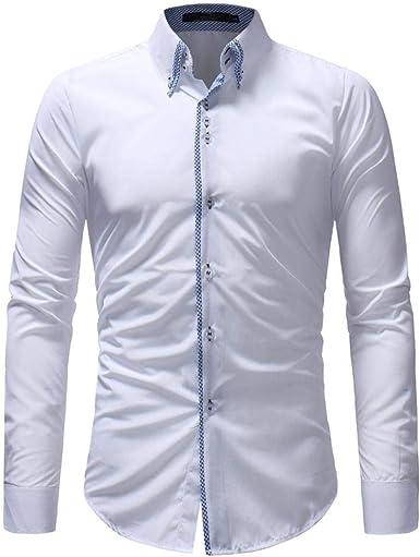 Camisa De Hombre Negro Blanco Amarillo Azul Camisa Unico De Corte Slim Camisa De Manga Larga Traje De Boda De Negocios Camisas De Ocio Super Cuello Tops Tops Color Sólido Retro: Amazon.es: