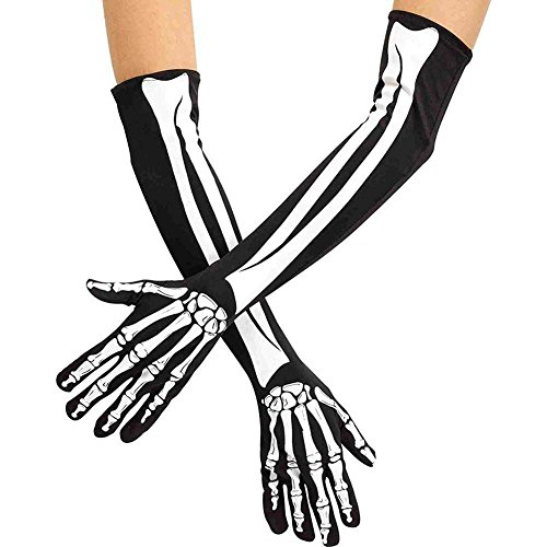 (CHUANGLI 1 Pair Halloween Skeleton Gloves Costume Accessory Skeleton Claw Bone Gloves for)