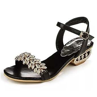 Mine Tom Mujer Elegante Verano Sandalias Diamante De Imitación Sandalias Punta Abierta Zapatos De La Playa Negro 36