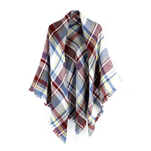 Shawl Neck (Women's Cozy Tartan Blanket Scarf Wrap Shawl Neck Stole Warm Plaid Checked Pashmina (Dark purple))