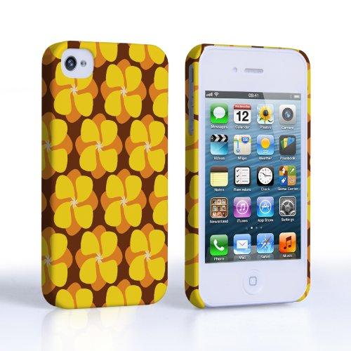 Caseflex iPhone 4 / 4S Hülle Gelb Blumen Hahnenfuß Muster Hart Schutzhülle