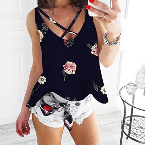 2019 Shirts Clearance ! Women's Ladies Fashion Print Flower V Neck Sleeveless Blouse Top -