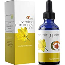 Pure Evening Primrose Oil for Face, Skin, Hair Cold Pressed for Greater Efficacy - Moisturize Dry & Flaky Skin - Fights Aging & Free Radical Damage - Fully Guaranteed By Maple Holistics