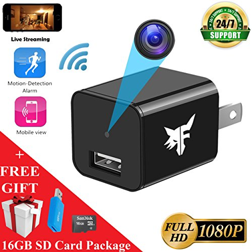 [NEW VERSION] WiFi Hidden Camera - Spy Camera - 16GB Included - HD 1080P - Surveillance Camera - USB Nanny Cam - Smart Cam - Home Security - 128GB Memory Max