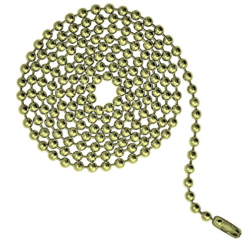 3 Foot Length Ball Chains, Number 6 Size, Brass Plated Steel, with Matching Connectors (3 Pack)