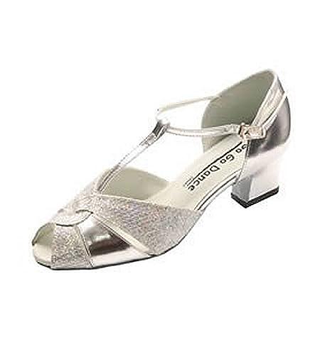 4fdb213db99 DanceNwear Peep Toe T-Strap Silver Leather w Sparklenet 1.8 quot  Cuban Heel  (