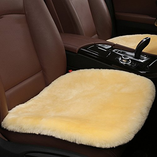 MLOVESIE Genuine Sheepskin Auto Seat Pad, Australian Soft Wool Seat Cover Comfort Warm with Non-Slip Backing Universal Fit,49cm49cm (Beige)