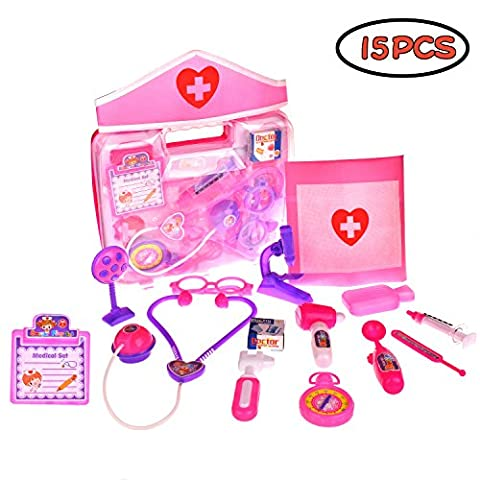 Doctor Nurse Medical Kit Assorted Pink Pretend Role Play Educational Playset With Durable Box for Birthday, Party -15 (Educational Kits)
