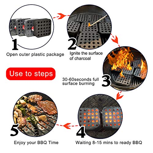 MUXI 4PCS Portable Grilling Charcoal Briquettes, 3 Seconds to Light, Sustainable Burning for 120 Mins, Easy Light Charcoal for Grill, Make BBQ Easy for Everyone, 5.2-Pound/Box