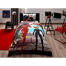 Disney Miraculuos Ladybug and Black Cat Kid's Twin Duvet/Quilt Cover Set Single / Twin Size Kids Bedding