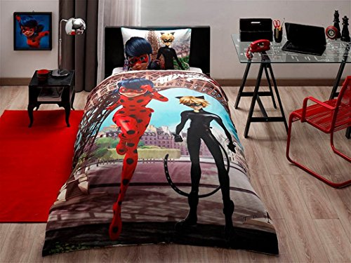 cityof20 Miraculuos Ladybug and Black Cat Kid's Twin Duvet/Quilt Cover Set Single/Twin Size Kids Bedding