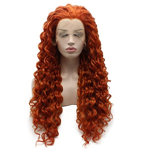 - Iewig Long Curly Reddish Blonde Heat Friendly Wig Natural Looking Synthetic Lace Front Wig
