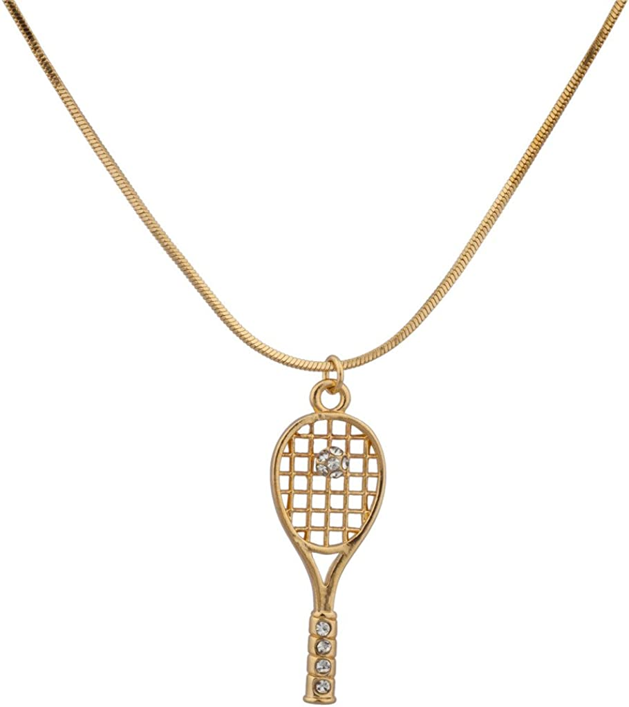 Lux Accessories Pave Tennis Racket Ball Simple Sport Pendant Necklace: Clothing