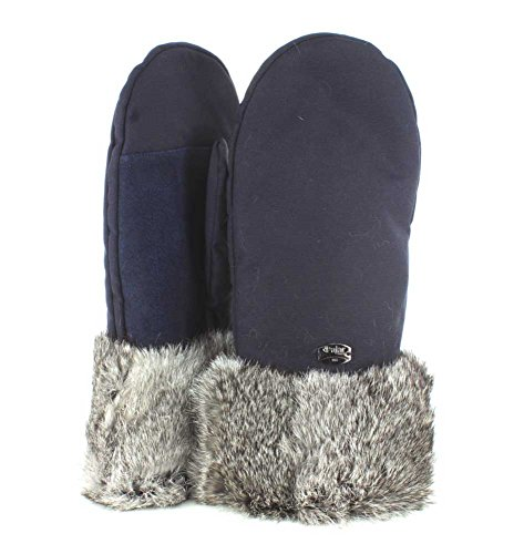 Pajar Womens Reid Oxford Rabbit Fur Trimmed Navy Mitten - M-L
