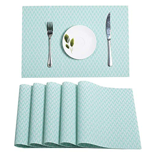 HEBE Placemats Washable Woven Vinyl Plastic Placemats for Kitchen Placemat Stain Insulation Table Mats Set of 6