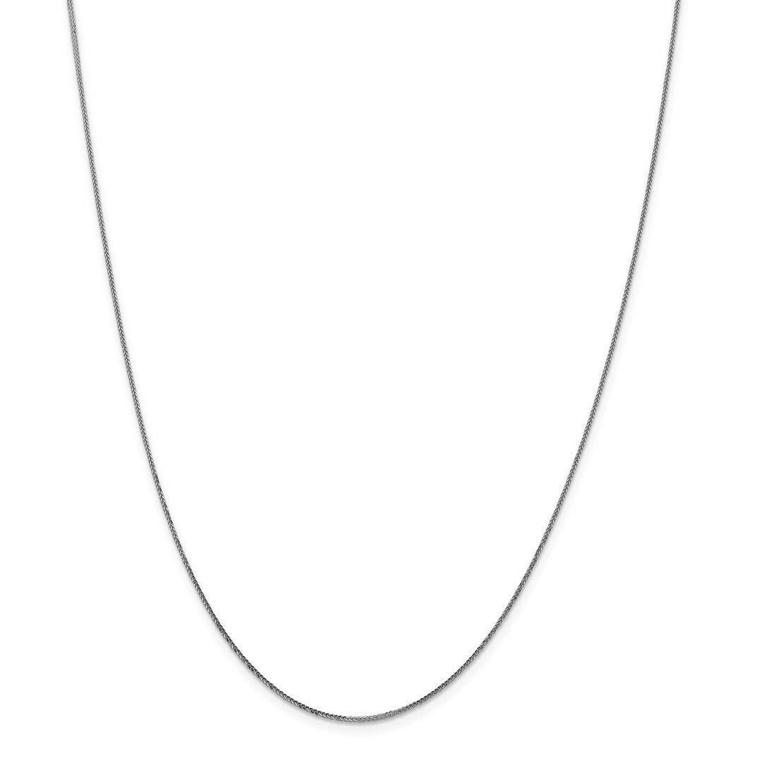 14k White Gold .90mm Round Diamond-Cut Wheat Chain