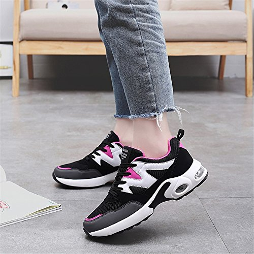 XUE Women's Shoes Tulle Breathable Spring Fall Comfort Sneakers Air Cushion Shoes for Casual Outdoor Sport Running Shoes Black Rose, Black Violet, Black Blue C