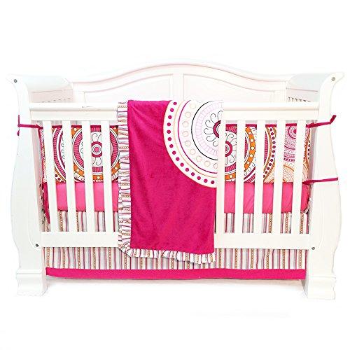 (One Grace Place Sophia Lolita Infant Crib Bedding Set, White/Pink/Orange/Black, 4 Piece)