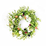 FAVOWREATH Vitality Series FAVO-W14 Handmade 12 inch Green Grass Wild Flowers Dry Branch Fall Wreath For Summer Festival Celebration Front Door/Wall/Fireplace Hanger Laurel/Eucalyptus Leaf Home Decor