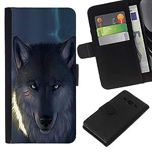 Stuss Case / Funda Carcasa PU de Cuero - Blue Eye Resplandeciente lobo del hombre lobo - Samsung Galaxy A3