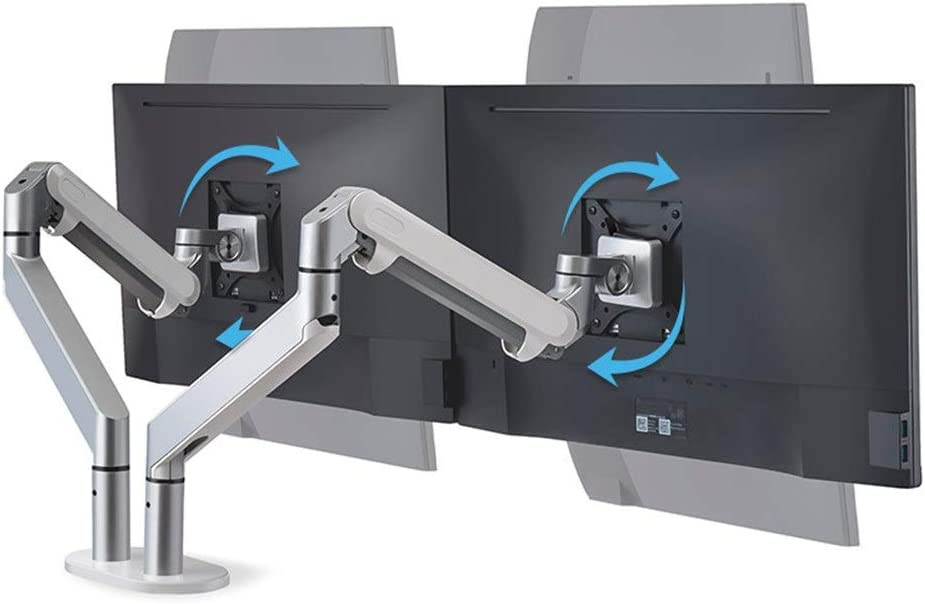机上台 調節可能な回転傾斜補助テーブルのPC表示フルモーションカンチレバーアーム取付クランプ人間工学的な高さ(ガソリンパワード)画面32」 机上收纳 パソコンスタンド (Color : Silver, Size : 66.8*22.5*12.5cm)