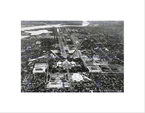 VINTAGE AERIAL CAPITOL HILL WASHINGTON DC AMERICA USA FRAMED ART PRINT B12X11709