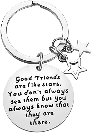 Friend Gifts Keychain Friendship Gifts for Her BFF Teens Girls Sisters Key Chain Besties Gifts Good Friends are Like Stars You Know They are Always There Thanksgiving Birthday Relationship Gifts