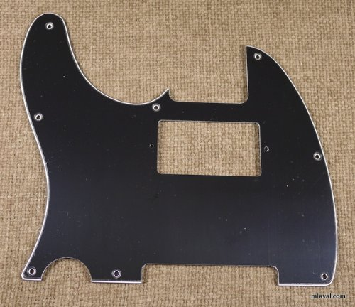 3 Ply Left Handed Guitar Pickguard Fits Tele with Humbucker cut out, BLACK (B15)