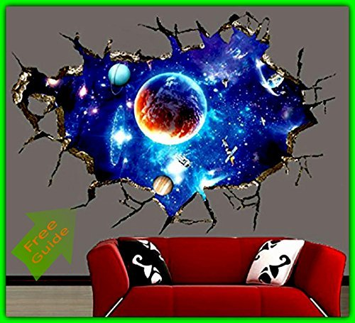 Amazon Com 3d Ceiling Wallpaper Sticker Diy Outer Space Galaxy Self Adhesive Waterproof Mural Art Wall Decals For Home Office Kids Room Decoration Easy To Apply Removable Will Not Damage Your Walls Or Windows