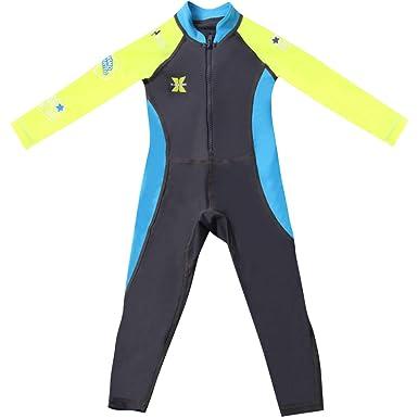 7aa6bbb7cd Boys Girls Wetsuit Swimsuit - Kids Swimwear Long Sleeve Diving Suit ...