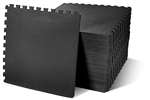 BalanceFrom Puzzle Exercise Mat with EVA Foam Interlocking Tiles, Black, 144 sq. ft. (Best Flooring For Basement Workout Room)