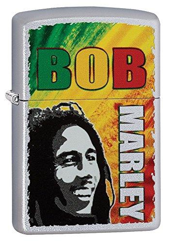 Zippo Bob Marley Pocket Lighter, Satin Chrome (Jamaica Zippo)