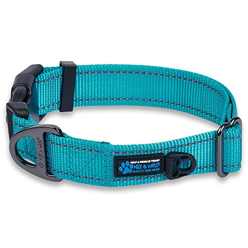 Wide Nylon Collar - Max and Neo trade; NEO Nylon Buckle Reflective Dog Collar - We Donate a Collar to a Dog Rescue for Every Collar Sold (Small, Teal)