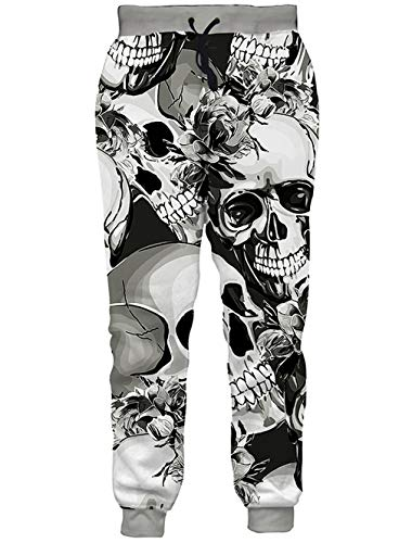 389e74c2fdd7b RAISEVERN Mens/Womens Sweatpants Grey Smile Skull Joggers Pants Flowers  Sportswear Baggy Trousers with Drawstring