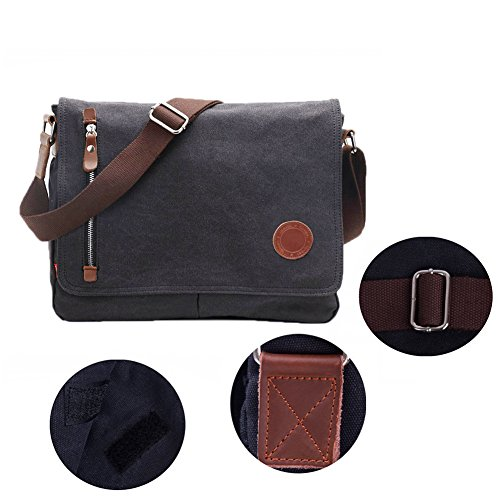 DricRoda Vintage Canvas Briefcase Cross Body Shoulder Bag,Large Capacity Messenger Laptop Satchel Bag with Durable Adjustable Cotton Braided Shoulder Strap for Laptops up to 10 Inches,Black by DricRoda (Image #3)