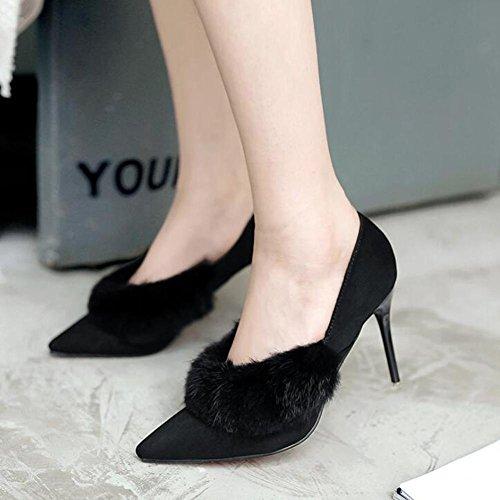 Hauts Chaussures BoîTe YC De L Nuit Cachemire Danse à Femmes Hiver De black Bureau Lapin Talons Printemps Lapin Plus Pointu Et xXxI6q