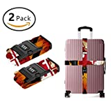 YEAHSPACE 2-Pc Wooden Maryland Flag Luggage Strap Suitcase Belts TSA Approved Lock