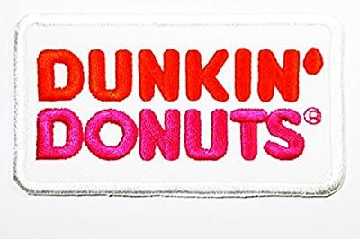 DUNKIN'DONUTS words funny patch Embroidered Iron on Hat Jacket Hoodie Backpack Ideal for Gift / 9cm(w) X 5cm(h)