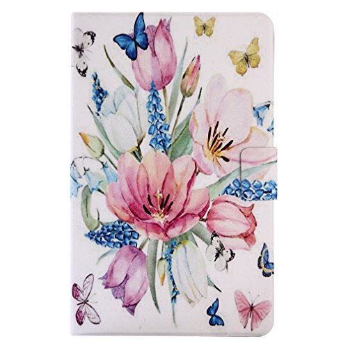 LMAZWUFULM Case for Amazon Fire HD 10 2017 (10,1 Inch) PU Leather Ultra-Thin Magnetic Closure Foldable Leather Cover Shy Panda Pattern of Bookstyle with Stent Function Holster Leather Case Flip Cover Butterfly Love Flowers